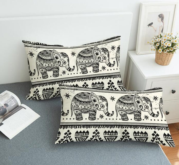 Bohemian Elephant Print Pillow Cases