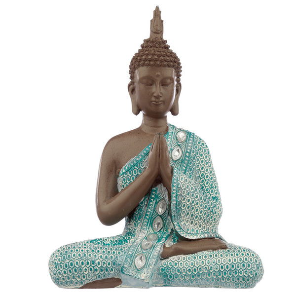 Decorative Turquoise & Brown Buddha Figurine - Meditating - Me Organics