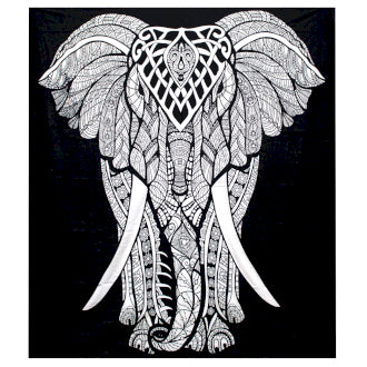 B&W Double Cotton Bedspread + Wall Hanging - Elephant