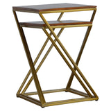 Set of 2 Chestnut Nesting Tables with Gold Base - Me Organics