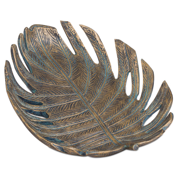 Antique Bronze Cheese Plant Leaf Dish - Me Organics