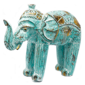 Wood Carved Elephant - Turquois Gold - Me Organics