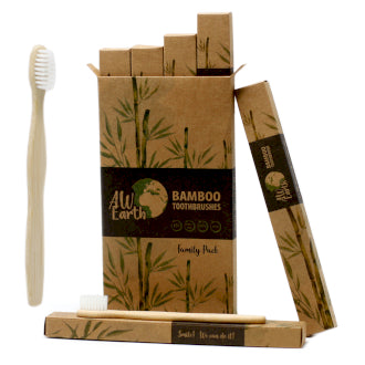 Bamboo Toothbrush- White Family Pack of 4 - Me Organics