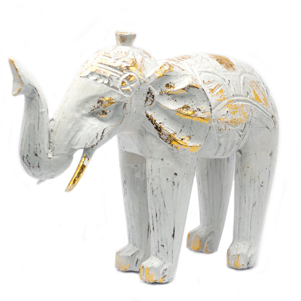 Wood Carved White Gold Elephant - Me Organics