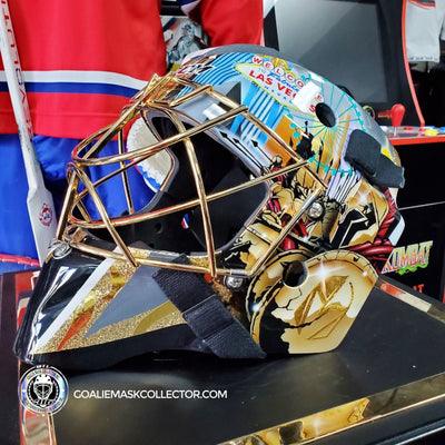 "NEW ARRIVAL: MARC-ANDRE FLEURY GOALIE MASK ""GAME READY"" LAS VEGAS GOLDEN KNIGHTS PAINTED BY GRIFF ON CCM GFL PRO"