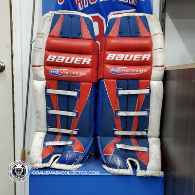 NEW ARRIVAL: MIKE RICHTER GAME WORN GOALIE PADS 2002 BAUER REACTOR!
