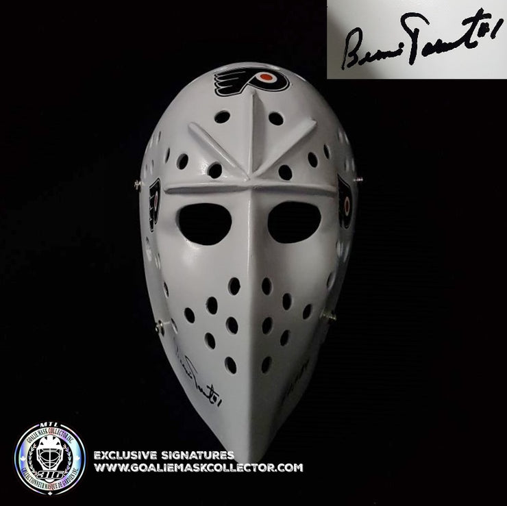 "Bernie Parent Signed Goalie Mask Autographed Philadelphia ""3 Emblems"" Signature Edition Vintage"