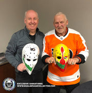 "BERNIE PARENT SIGNED GOALIE MASK AUTOGRAPHED PHILADELPHIA ""2 EMBLEMS"" TRIBUTE VINTAGE"