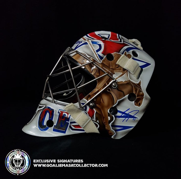 CAREY PRICE SIGNED GOALIE MASK AUTOGRAPHED MONTREAL 2010-11 COWBOY WHITE