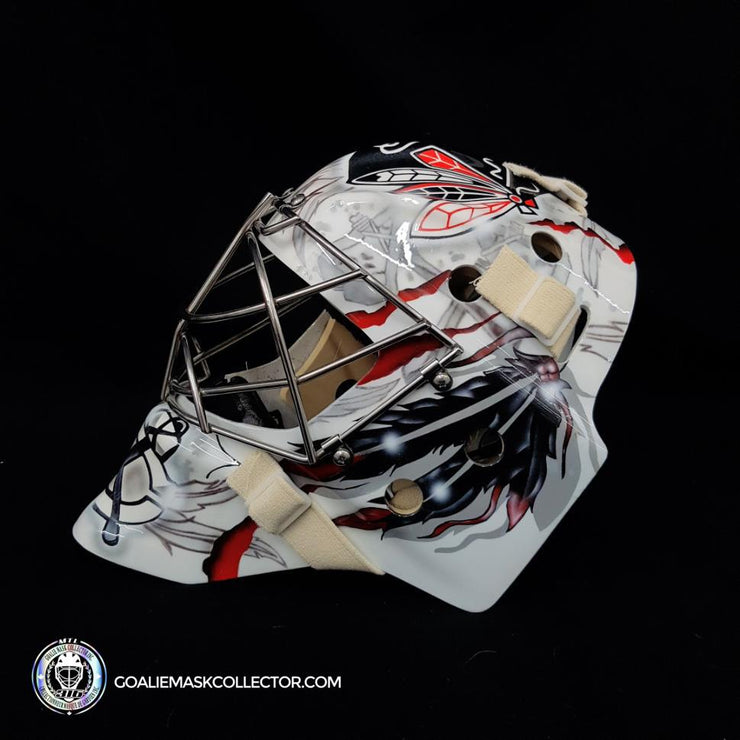 Corey Crawford Unsigned Goalie Mask White Chicago Tribute