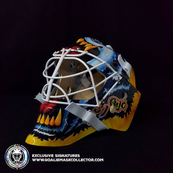 JORDAN BINNINGTON SIGNED GOALIE MASK CURTIS CUJO JOSEPH TRIBUTE AUTOGRAPHED ST. LOUIS MAD DOG SIGNATURE EDITION