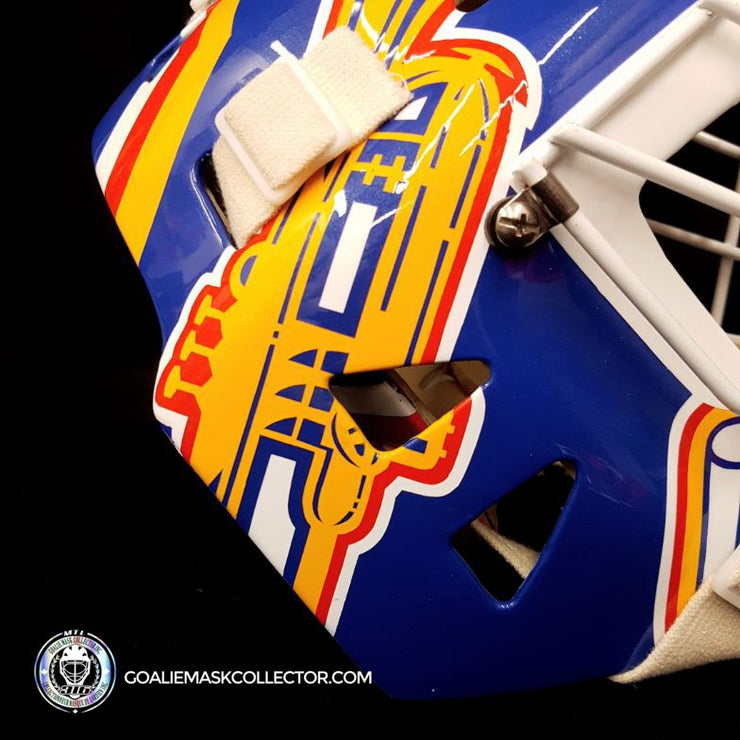 "Curtis Joseph PRO ""ICE READY"" Goalie Mask Frank Cipra Painted St-Louis Blues Eddy Shell"