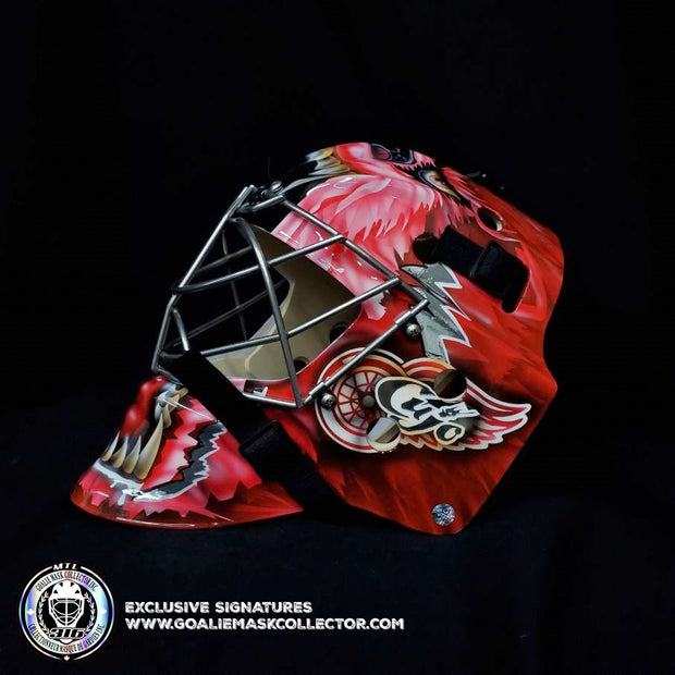 CURTIS JOSEPH UN-SIGNED GOALIE MASK RED DETROIT