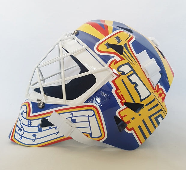 CURTIS JOSEPH UN-SIGNED GOALIE MASK TRUMPET ST-LOUIS