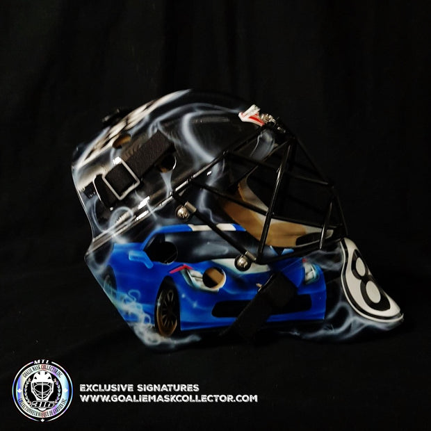 CUSTOM PAINTED GOALIE MASK: CORVETTE UN-SIGNED GOALIE MASK TRIBUTE CUSTOM ART