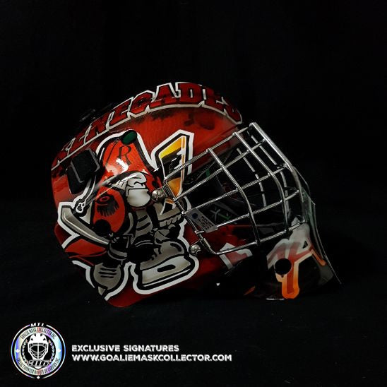 CUSTOM PAINTED GOALIE MASK:  RENEGADES ON BAUER JUNIOR KIDS MASK