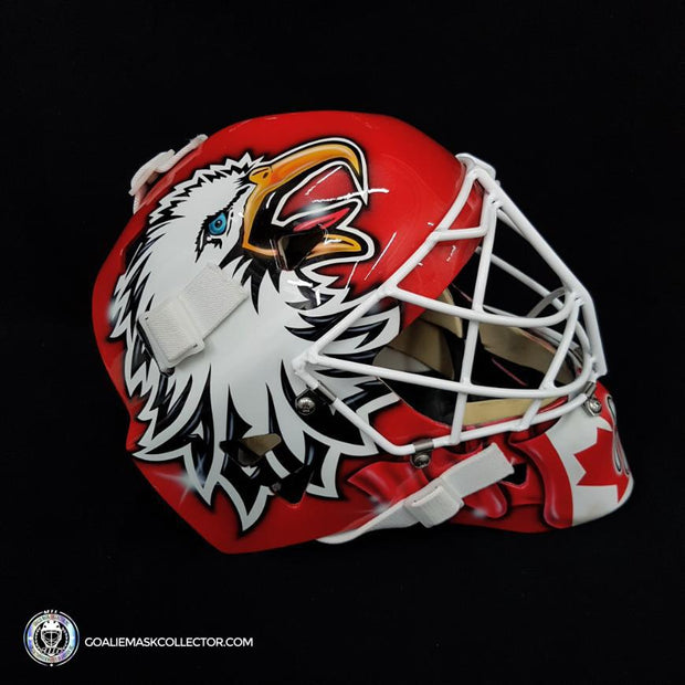 "Ed Belfour ""The Eagle"" Practice Worn Goalie Mask Team Canada 2004 World Cup Painted by DaveArt on Warwick Shell"