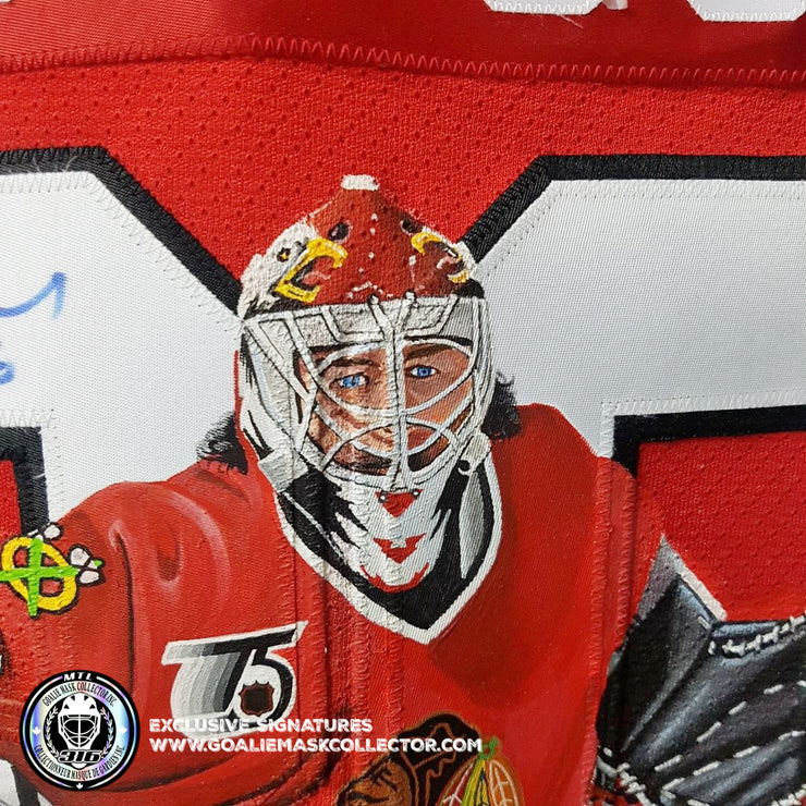ED BELFOUR SIGNED JERSEY  ART EDITION HAND-PAINTED CHICAGO BLACKHAWKS AUTOGRAPHED