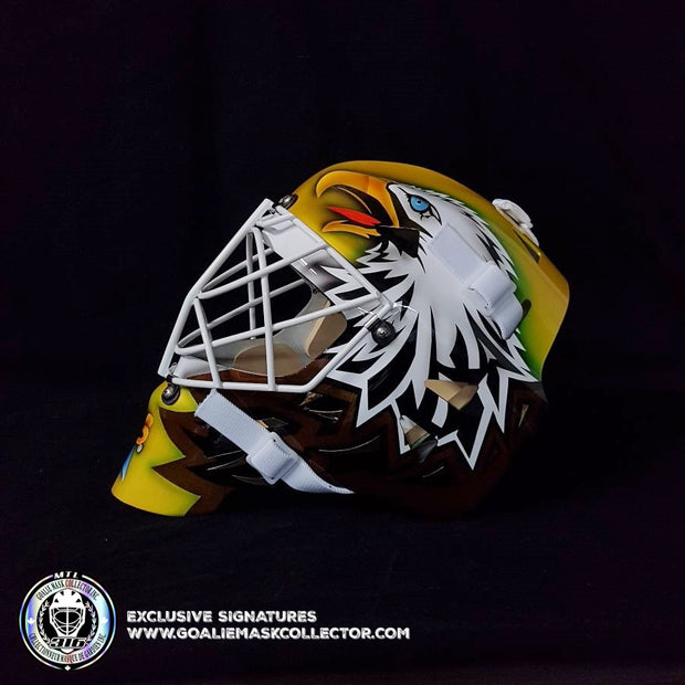 ED BELFOUR UN-SIGNED GOALIE MASK GOLD DALLAS SIMPLE EAGLE
