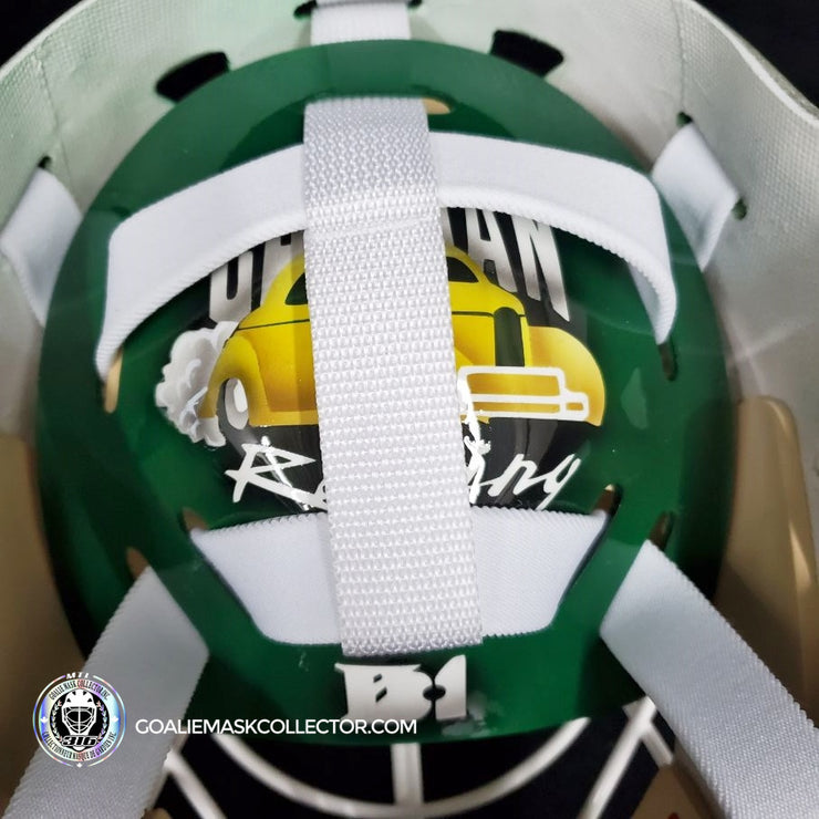 "ED BELFOUR SIGNED GOALIE MASK DALLAS AUTOGRAPHED GREEN SIGNATURE EDITION ""SIMPLE EAGLE"""