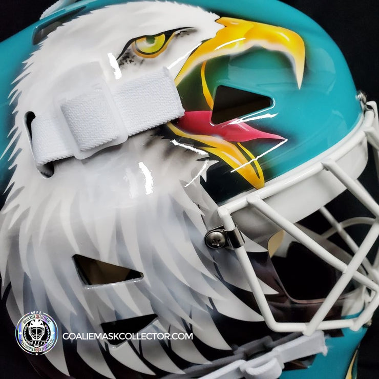 "ED BELFOUR SIGNED GOALIE MASK SAN JOSE AUTOGRAPHED TEAL SIGNATURE EDITION ""COMPLEX EAGLE"""