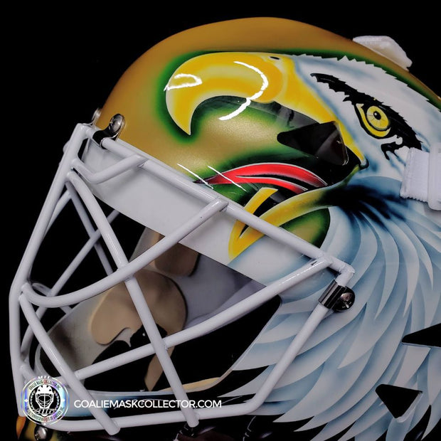 "ED BELFOUR SIGNED GOALIE MASK DALLAS AUTOGRAPHED GOLD YELLOW SIGNATURE EDITION ""COMPLEX EAGLE"""