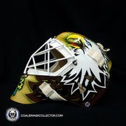 "ED BELFOUR SIGNED GOALIE MASK DALLAS AUTOGRAPHED GOLD YELLOW SIGNATURE EDITION ""SIMPLE EAGLE"""