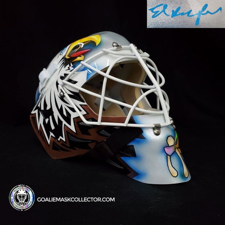 ED BELFOUR SIGNED GOALIE MASK AUTOGRAPHED TORONTO SILVER V2 BROWN EAGLE SIGNATURE EDITION