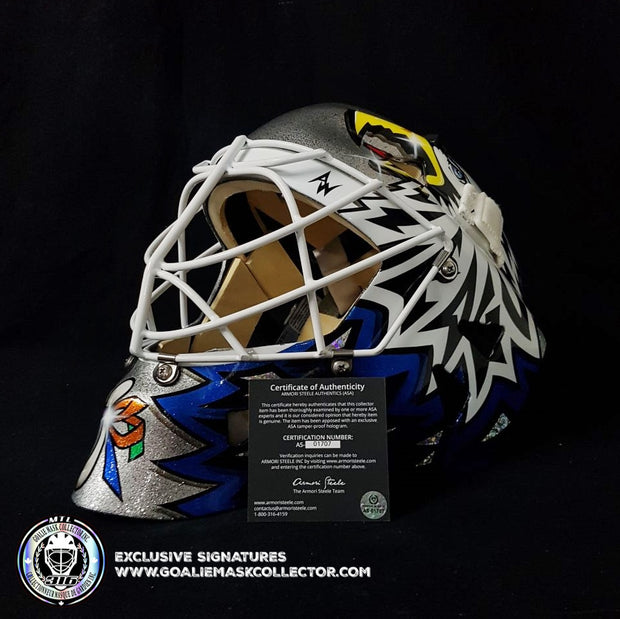 ED BELFOUR GOALIE MASK GAME USED WORN 2005-06 TORONTO MAPLE LEAFS GRAY WARWICK FINAL LEAFS GAME