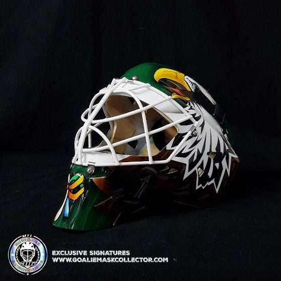 ED BELFOUR UN-SIGNED GOALIE MASK GREEN DALLAS EAGLE EDITION