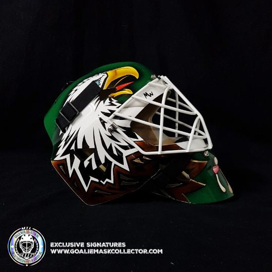 ED BELFOUR UN-SIGNED GOALIE MASK GREEN DALLAS SIMPLE EAGLE