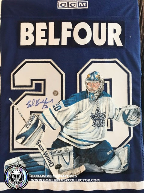 ED BELFOUR SIGNED JERSEY ART EDITION HAND-PAINTED TORONTO MAPLE LEAFS AUTOGRAPHED