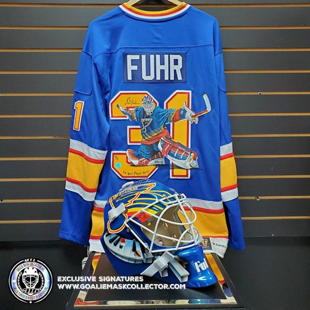 GRANT FUHR ART EDITION SIGNED JERSEY HAND-PAINTED ST.LOUIS BLUES AUTOGRAPHED