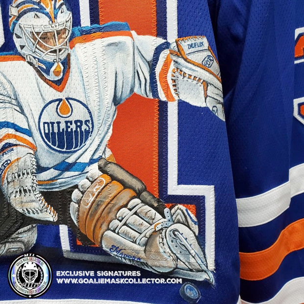 GRANT FUHR ART EDITION SIGNED JERSEY HAND-PAINTED EDMONTON OILERS AUTOGRAPHED