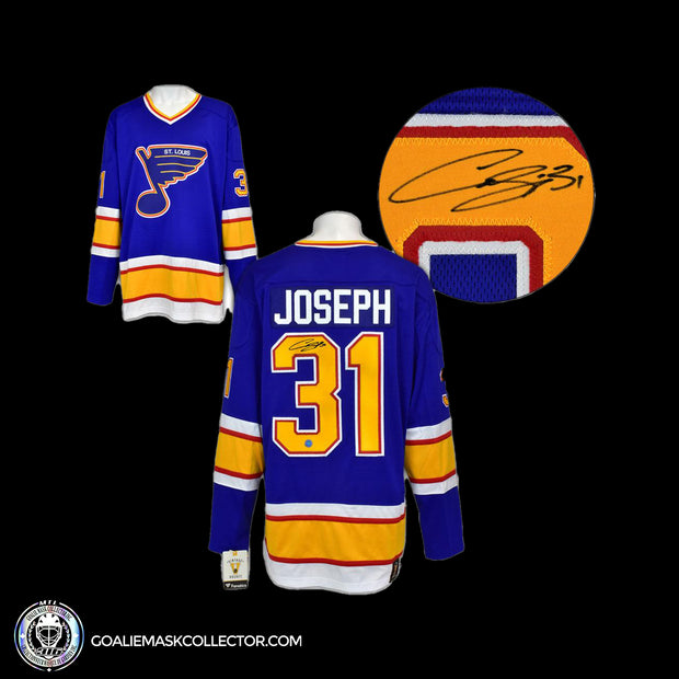 Curtis Joseph St.Louis Blues Autographed Fanatics Vintage Hockey Jersey