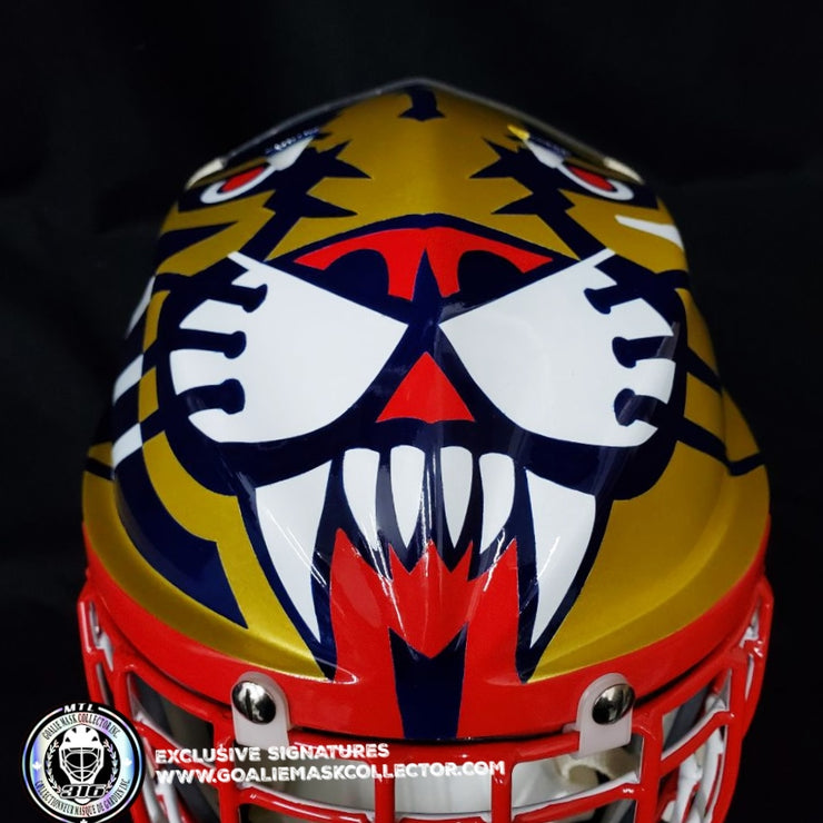 "JOHN VANBIESBROUCK ARMADILLA GOALIE MASK ""GAME READY"" SIGNED 1994 FLORIDA PANTHERS DON STRAUS AUTOGRAPHED"