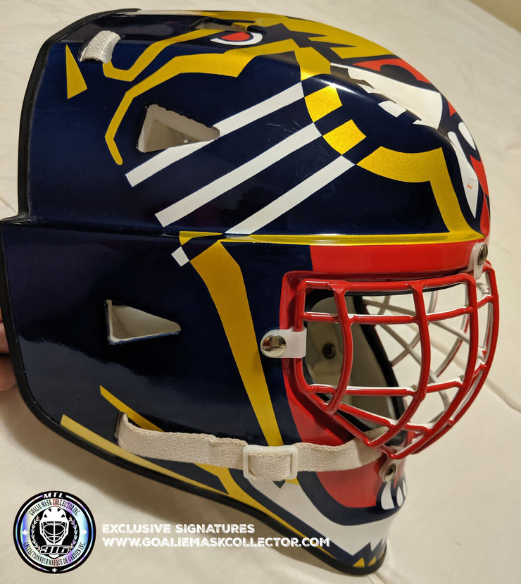 "JOHN VANBIESBROUCK GOALIE MASK ""GAME READY"" ARMADILLA 1998 FLORIDA PANTHERS DON STRAUS AUTOGRAPHED"