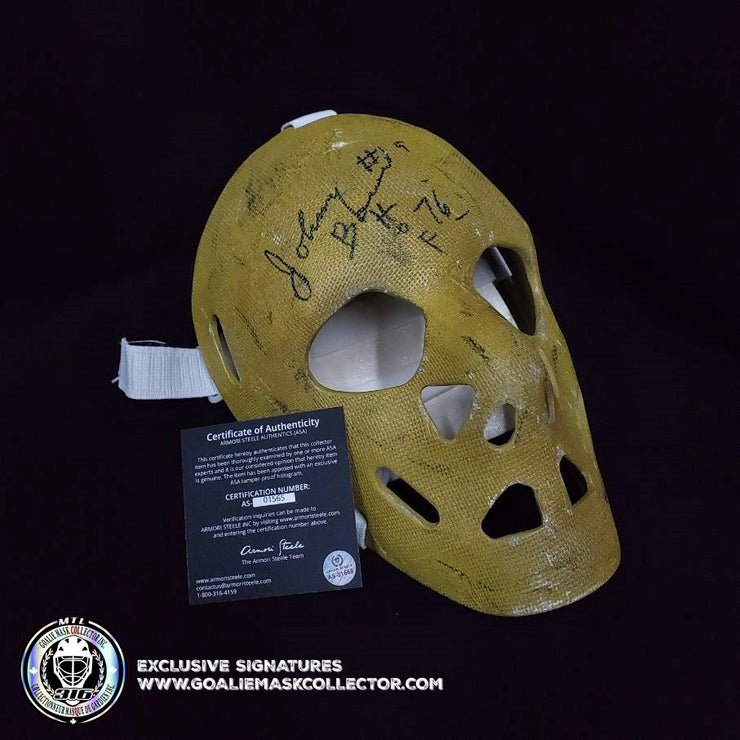 JOHNNY BOWER SIGNED AUTOGRAPHED GOALIE MASK TORONTO TRIBUTE 70'S VINTAGE BY DON SCOTT