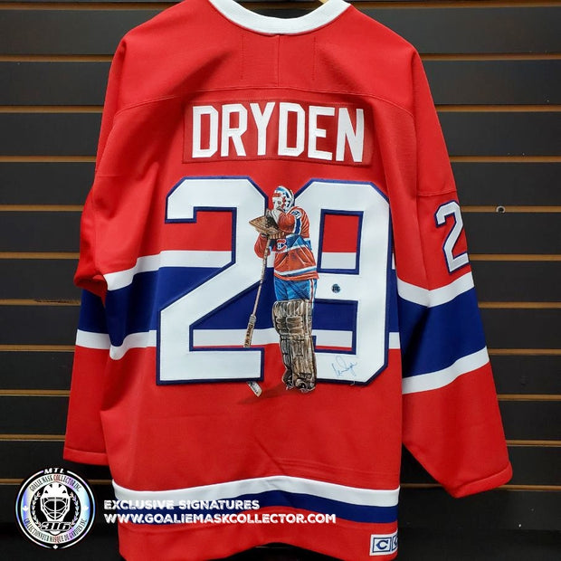 KEN DRYDEN ART EDITION SIGNED JERSEY HAND-PAINTED MONTREAL CANADIENS AUTOGRAPHED