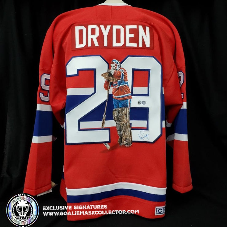 "KEN DRYDEN ART EDITION SIGNED JERSEY ""STANCE"" HAND-PAINTED MONTREAL CANADIENS AUTOGRAPHED"