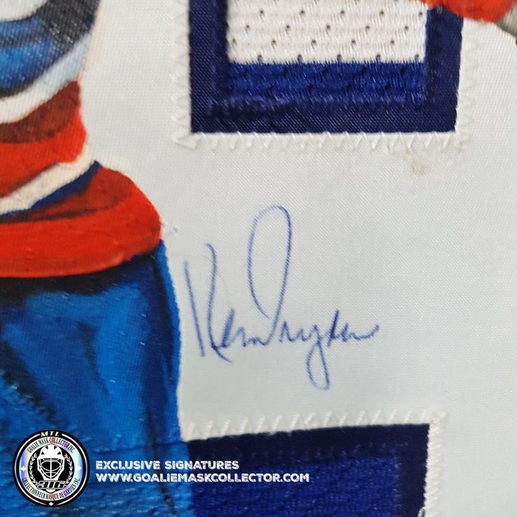 "KEN DRYDEN ART EDITION SIGNED JERSEY ""SAVE"" HAND-PAINTED MONTREAL CANADIENS AUTOGRAPHED"