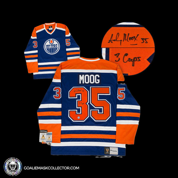 Andy Moog Signed Jersey Edmonton Oilers Autographed