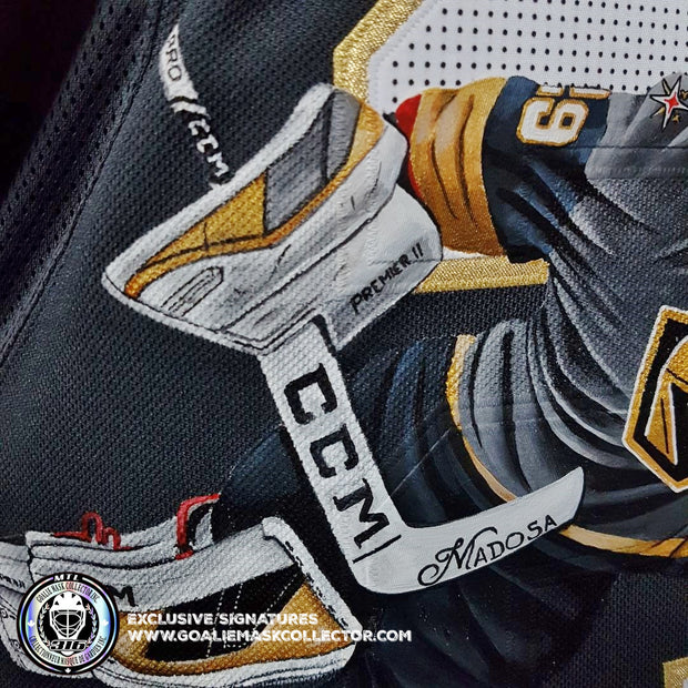 "MARC-ANDRE FLEURY SIGNED JERSEY ART EDITION ""THE FLYING SAVE"" HAND-PAINTED LAS VEGAS AUTOGRAPHED FANATICS BLACK ADIDAS AUTHENTIC LIMITED EDITION OF 4"