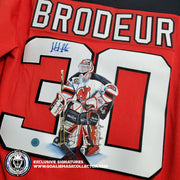 MARTIN BRODEUR ART EDITION SIGNED JERSEY NEW JERSEY DEVILS HAND-PAINTED 1995 STANLEY CUP PATCH