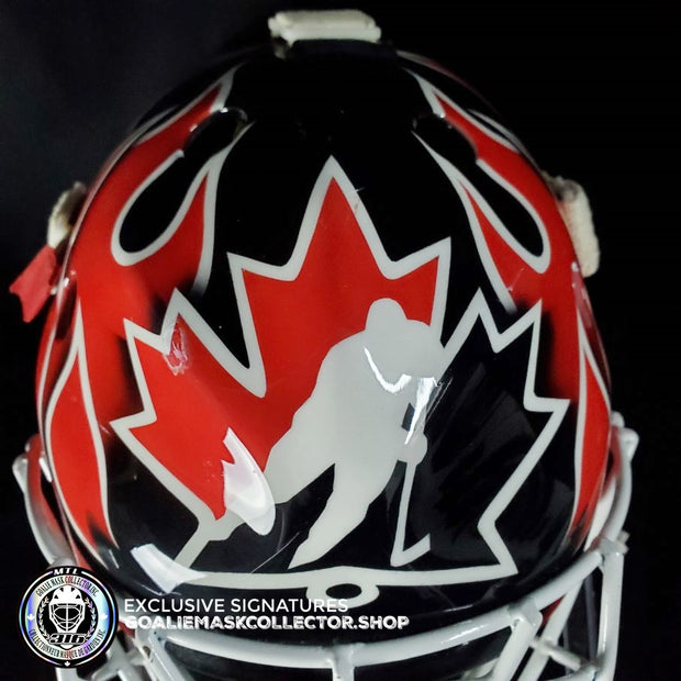 MARTIN BRODEUR GAME USED GOALIE MASK WORN 2004 GOLD TEAM CANADA WORLD CUP LEFEVBRE CCM SHELL - LOA BY BRODEUR FAMILY - PHOTO MATCHED -SIGNED & INSCRIBED