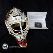 MIIKKA KIPPER KIPRUSOFF GOALIE MASK GAME USED WORN 2010 CALGARY FLAMES 30TH ANNIVERSARY AUTOGRAPHED PAINTED BY DAVID ARRIGO