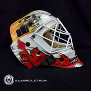 "Miikka ""Kipper"" Kiprusoff Game Worn Goalie Mask 2009-10 Calgary Flames 30th Anniversary Painted by David Arrigo on Bauer Pro Shell Autographed"