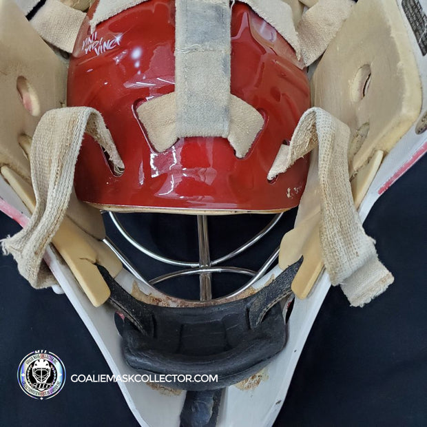 MIKAEL TELLQVIST & KRISTERS GUDLEVSKIS GOALIE MASK GAME USED WORN DINAMO RIGA TEAM LATVIA PAINTED BY DAVEART DAVID GUNNARSSON