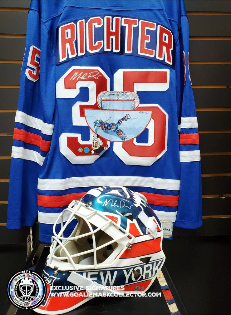 "MIKE RICHTER ART EDITION SIGNED JERSEY HAND-PAINTED 1994 NEW YORK RANGERS ""THE SAVE"" PAVEL BURE"