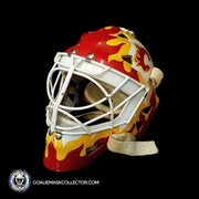 Mike Vernon Game Worn Goalie Mask 1989 Calgary Flames Painted by Greg Harrison on Harrison Shell